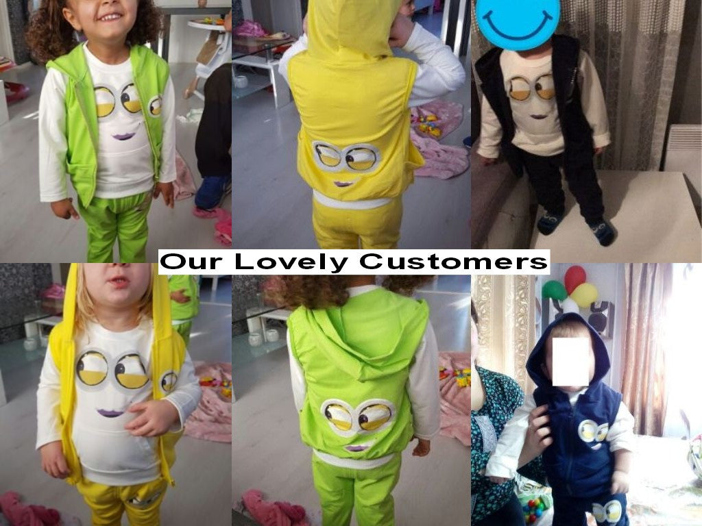 Spring/Summer Unisex Baby Clothing Set with Minion Printed T Shirt, Sleevless Hooded Vest and Sweatpants (3pcs) 4-24M - FOR MY LITTLE ANGELS