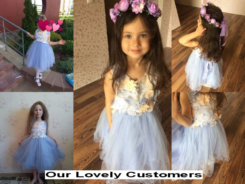 Spring/Summer Girls Sleeveless Dress with Flowers Detail and Fluffy Mesh Bottom 2-11T - FOR MY LITTLE ANGELS