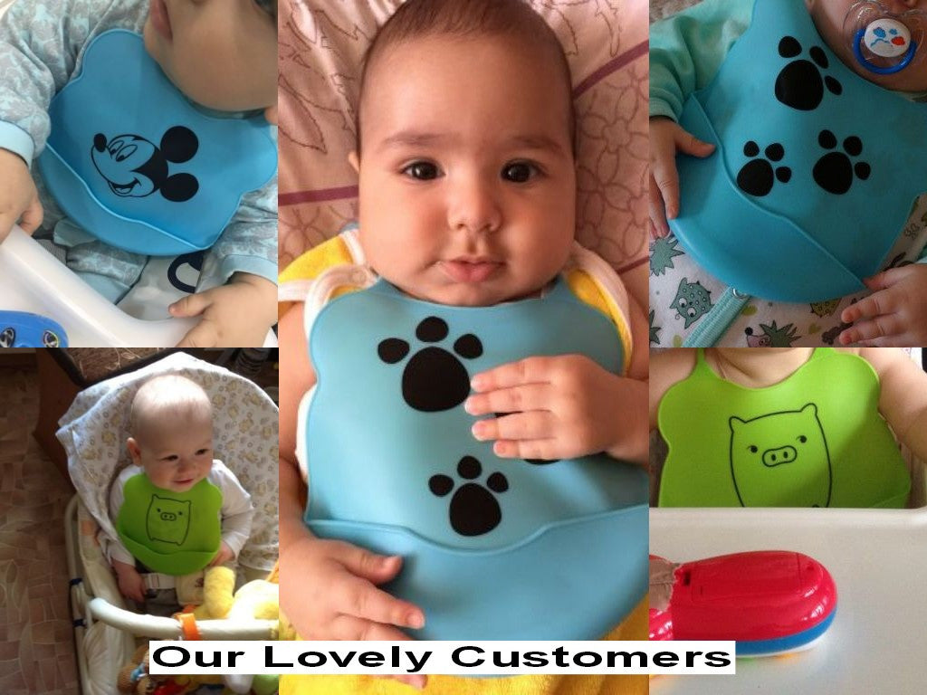 Baby Waterproof Silicon Feeding Bib with Cute Cartoon Print - FOR MY LITTLE ANGELS