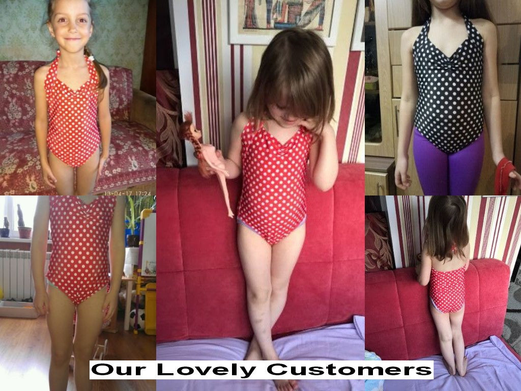 Summer Tie Back Strap Swimsuit for Baby Girl with Polka Dot Print 3-8T - FOR MY LITTLE ANGELS