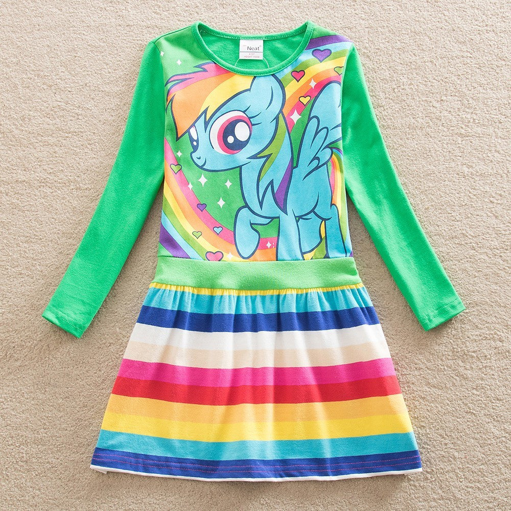 Short/Long-sleeve Pony Casual Dress with Colorful Stripe Bottom Skirt for 4-8T - FOR MY LITTLE ANGELS