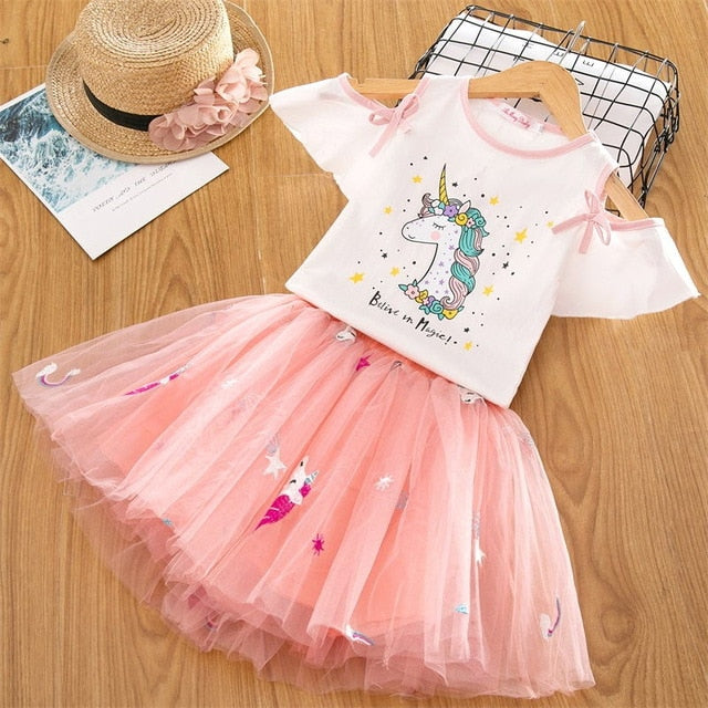 Summer Autumn Long Sleeves See Through Cute Elegant Unicorn Lace Princess Dress for Little Girls 2T-6 - FOR MY LITTLE ANGELS
