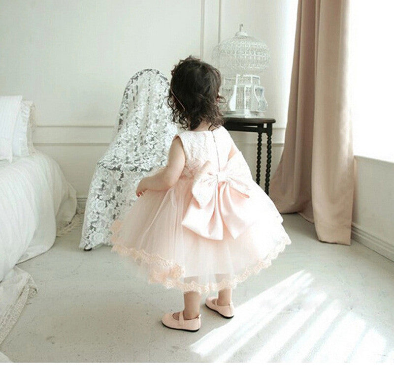 Baby Girls Longsleeve/Shortsleeve Lace and Tulle Dress with Big Bow 1-6T - FOR MY LITTLE ANGELS