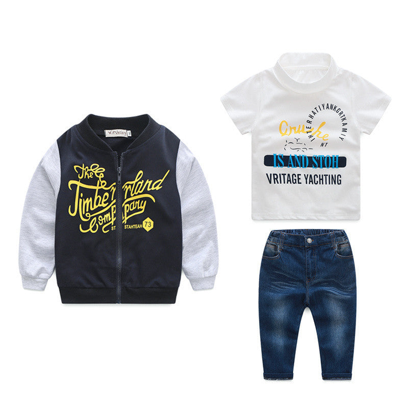 Spring/Autumn Casual Baby Boys Clothing Set with Printed Bomber Jacket, Shortsleeve T Shirt and Jeans (3pcs) 2-7T - FOR MY LITTLE ANGELS