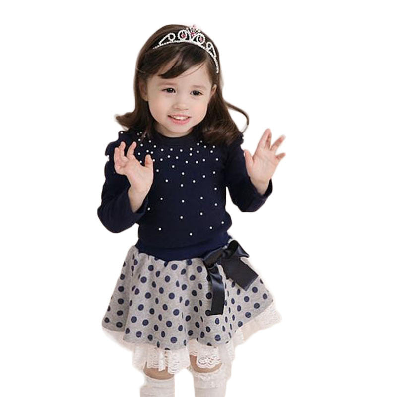 Clothing Set for Girls with Diamond Dot Top + Polka Dot and Bow Skirt for 3-7T (2pcs) - FOR MY LITTLE ANGELS
