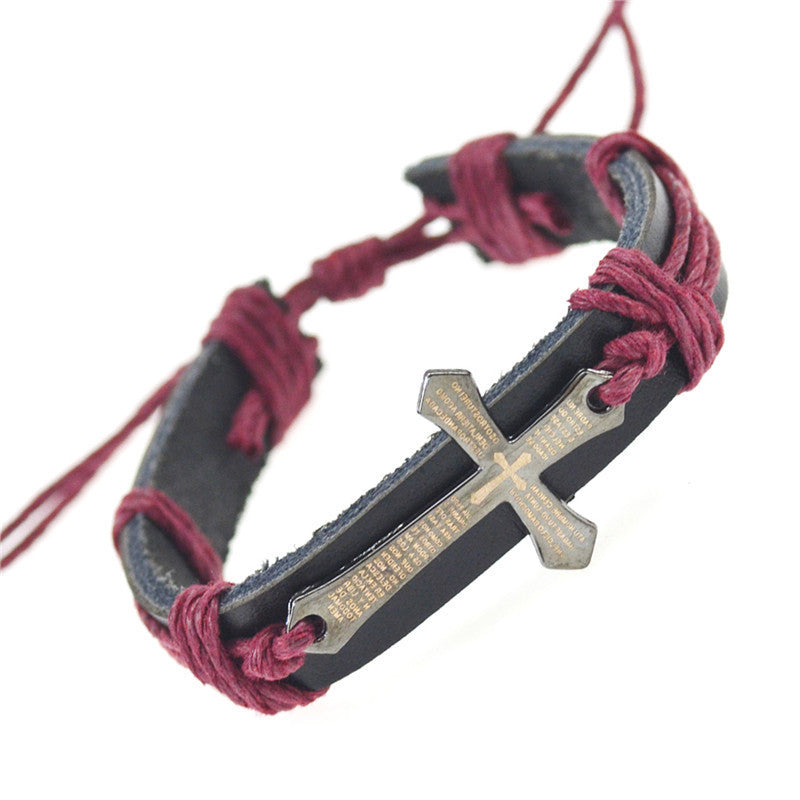 Leather and Rope Bracelet with Wrap Cross Charm - FOR MY LITTLE ANGELS