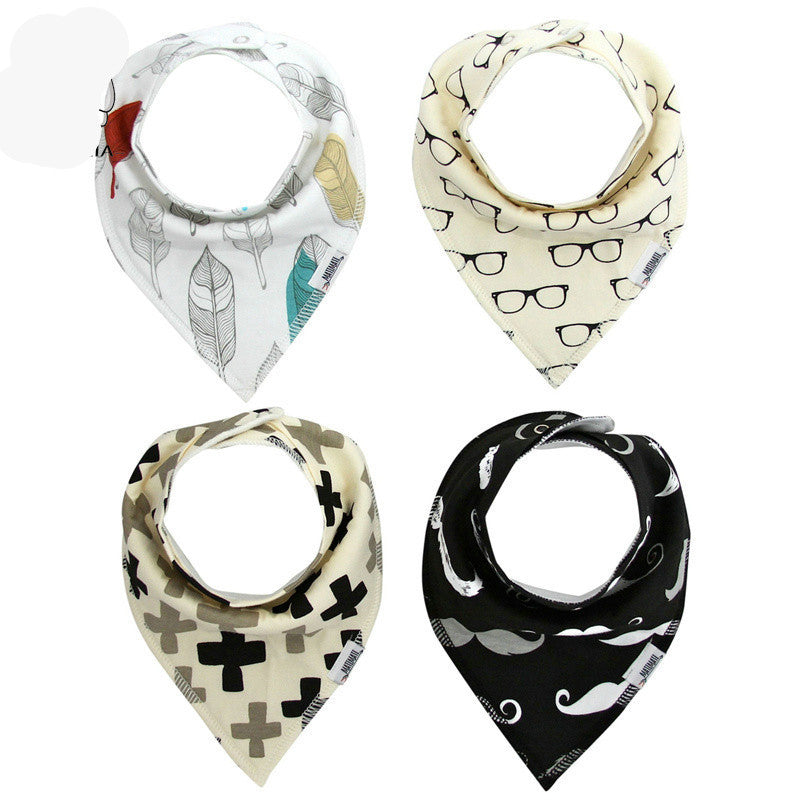 Soft Cotton Bibs Burp Bandanna for Infant Baby Kids Toddler - 4 Pieces per Lot - 10 Styles to Choose from. - FOR MY LITTLE ANGELS