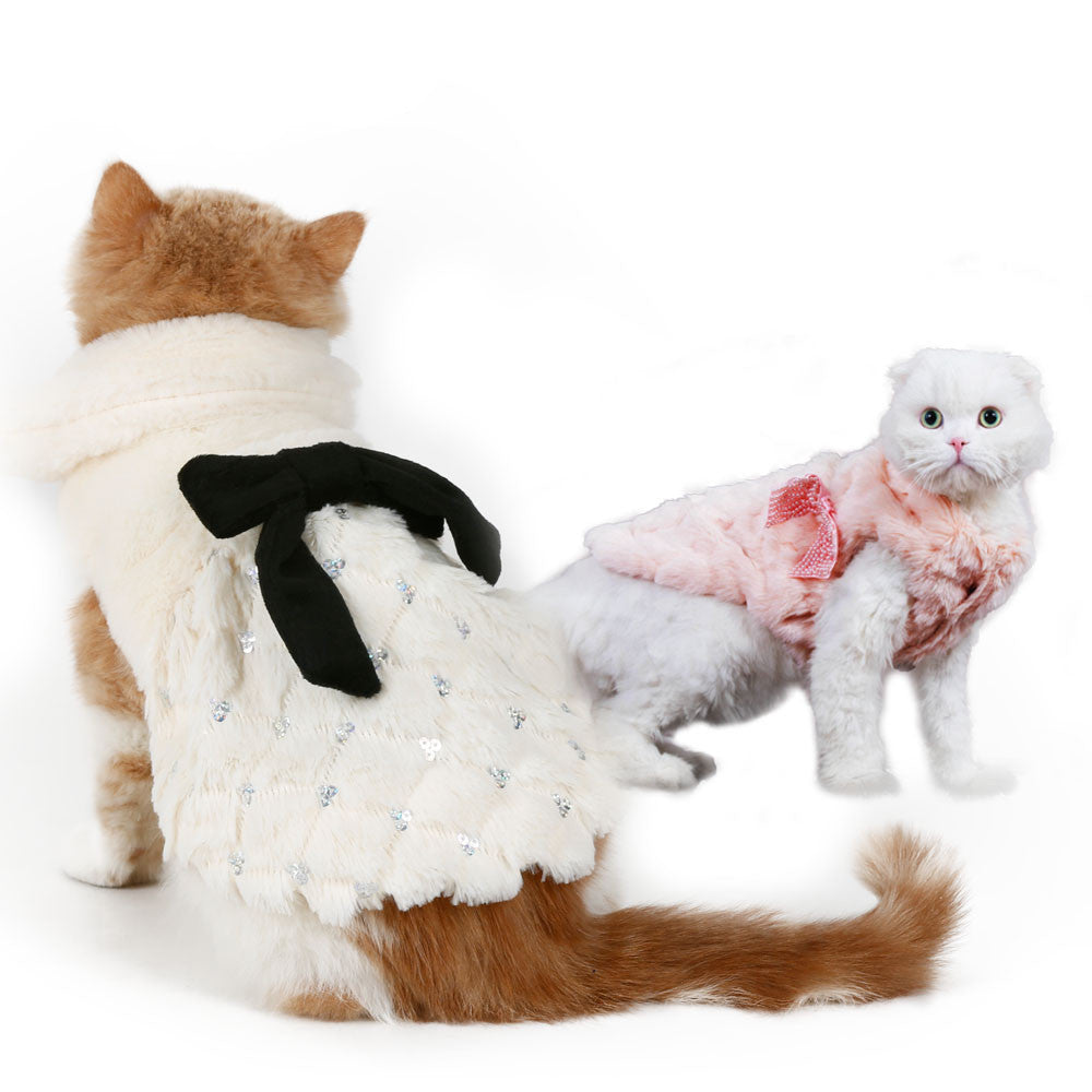 Soft Fur Dogs Costume Coat with Bow Knot - FOR MY LITTLE ANGELS
