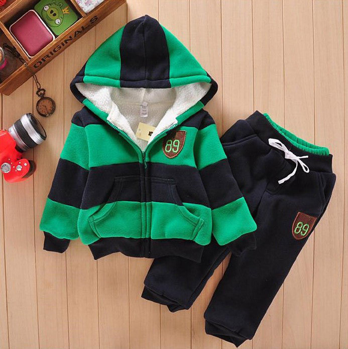 Sporty Clothing Set for Boys with Stripe Zipped Sweater + Sweatpants (2pcs) 2-6T  - More Colors Available - FOR MY LITTLE ANGELS