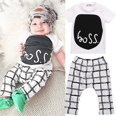 Baby Boys Short Sleeve Clothing Set with Printed T-Shirt + Checked Print Pants (2pcs) for 4-24M - FOR MY LITTLE ANGELS