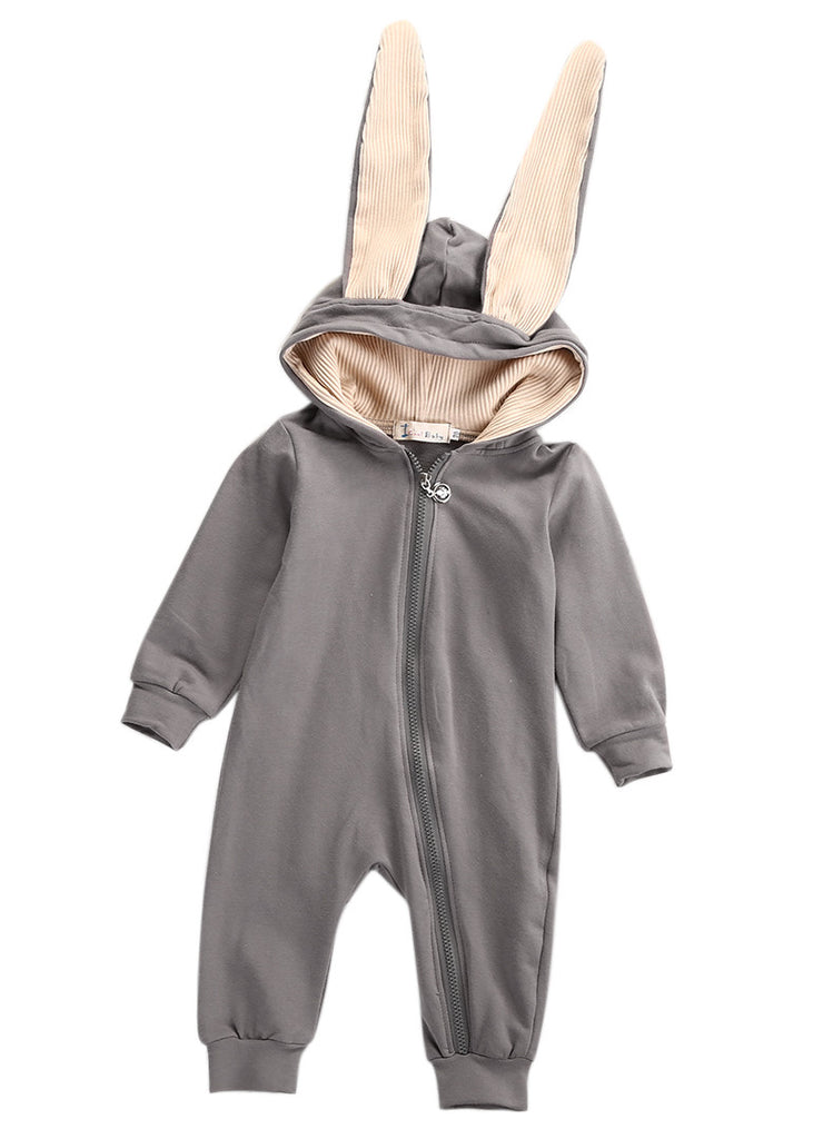 Warm Rabbit Zipped Rompers for Baby with 3D Ears and Hood 0-18M - FOR MY LITTLE ANGELS