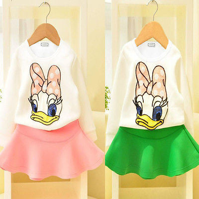 Baby Grls Donald Duck Cartoon Outfit Set with Duck Print Top and Solid Color Skirt (2pcs) for 2-6T - FOR MY LITTLE ANGELS