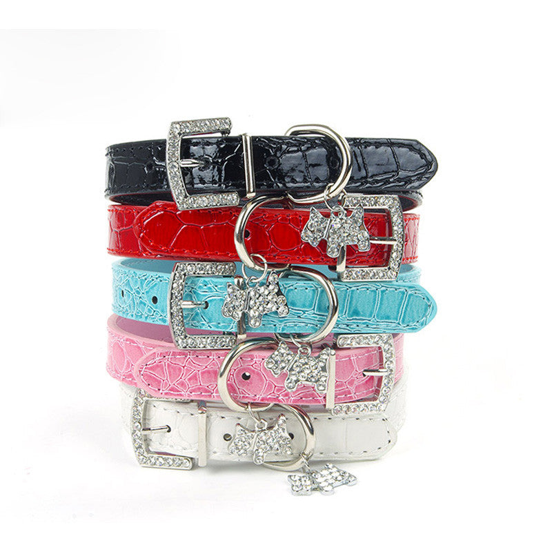 PU Leather Pets Collar with Rhinestone Buckle and Crystal Dog Shape Pendant - FOR MY LITTLE ANGELS