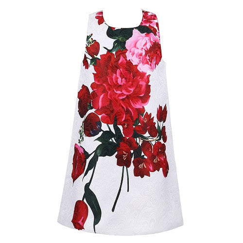 Sleeveless A-line Red Rose Print Dress for Girls 2-10T - FOR MY LITTLE ANGELS