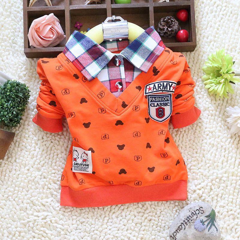 Boy Cartoon Lapel T-shirt with Mickey Mouse Print and Plaid Chemise Collar for 1-4T - More Options Available - FOR MY LITTLE ANGELS