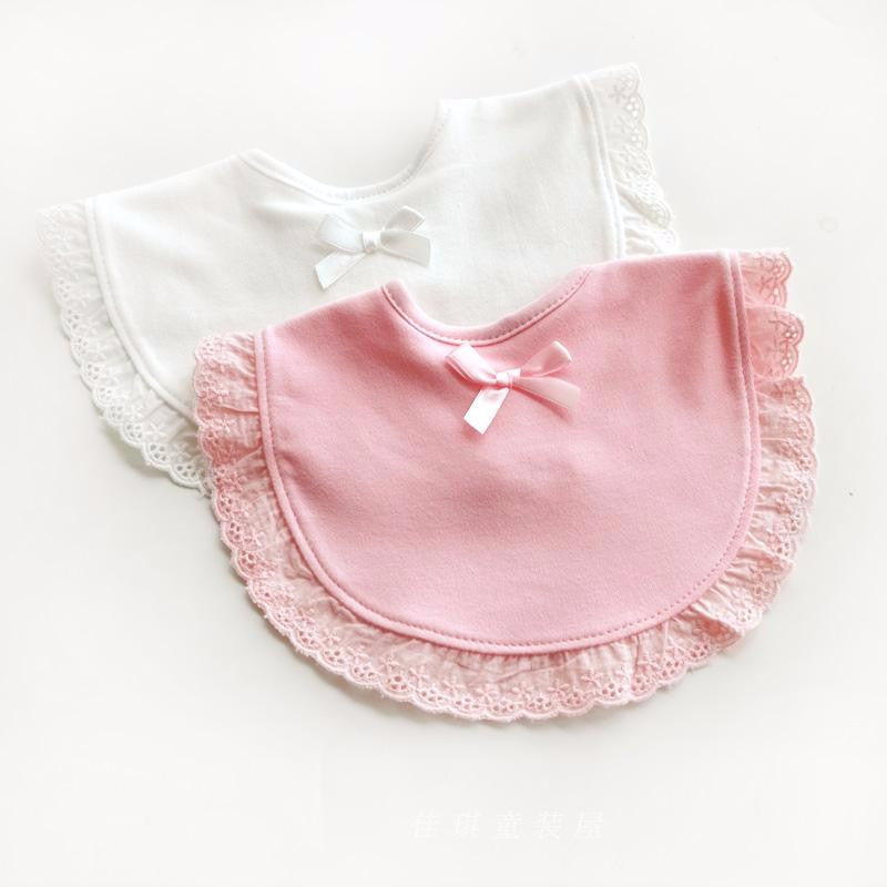 Newborn Baby Bib with Soft Cotton and Lace Detail - FOR MY LITTLE ANGELS