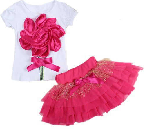 Clothing Set for Girls with Flower Details Top and Mesh Bottom Skirt (2pcs) for 2-6T - More Colors Available - FOR MY LITTLE ANGELS