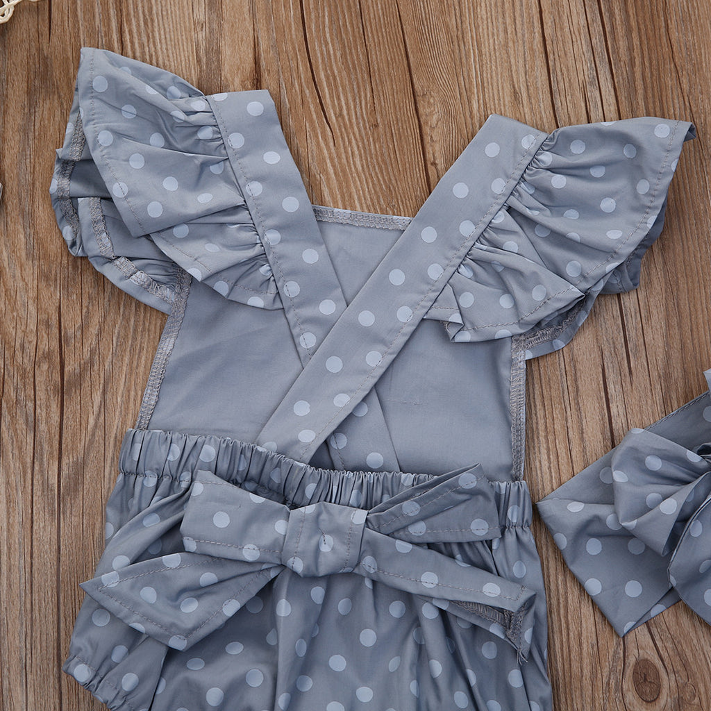 Spring/Summer Baby Girl Rompers with Polka Dot Pattern and Matched Headband (2pcs) 0-18M - FOR MY LITTLE ANGELS