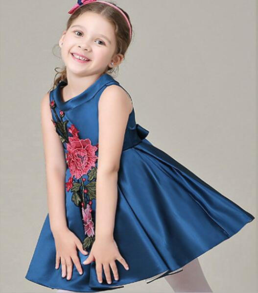 Flower Appliques Ball Gown Dress for Girls 4-8T - FOR MY LITTLE ANGELS