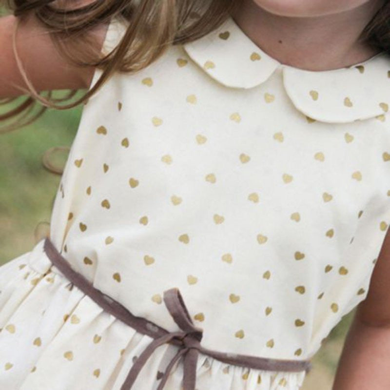 Spring/Summer Baby Girls Sleeveless Dress with Heart Pattern and Peter Pan Collar 3-7T - FOR MY LITTLE ANGELS