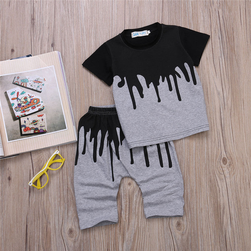 Spring/Summer Casual Baby Boys Clothing Set with Printed T Shirt and Long Pants (2pcs) 1-4T - FOR MY LITTLE ANGELS