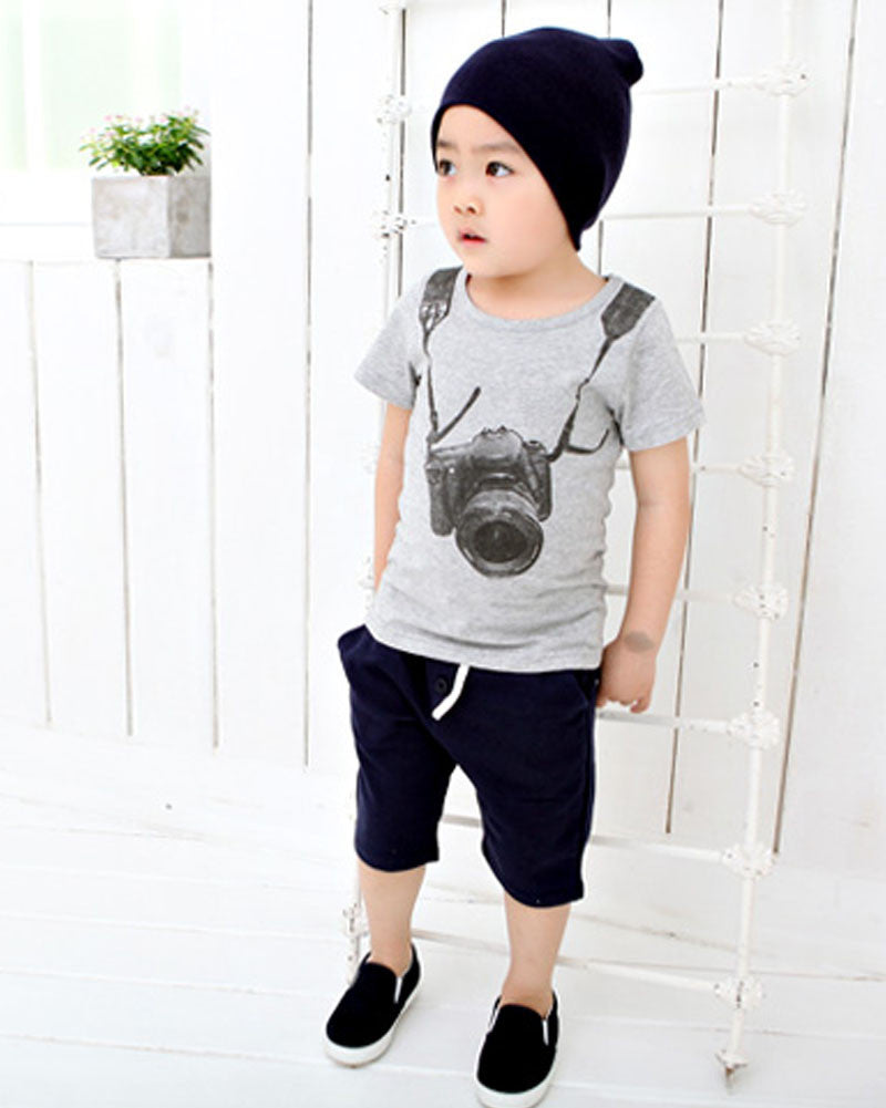 Casual Short Sleeve T-shirt with Camera Print for Boys for 3-7T - FOR MY LITTLE ANGELS