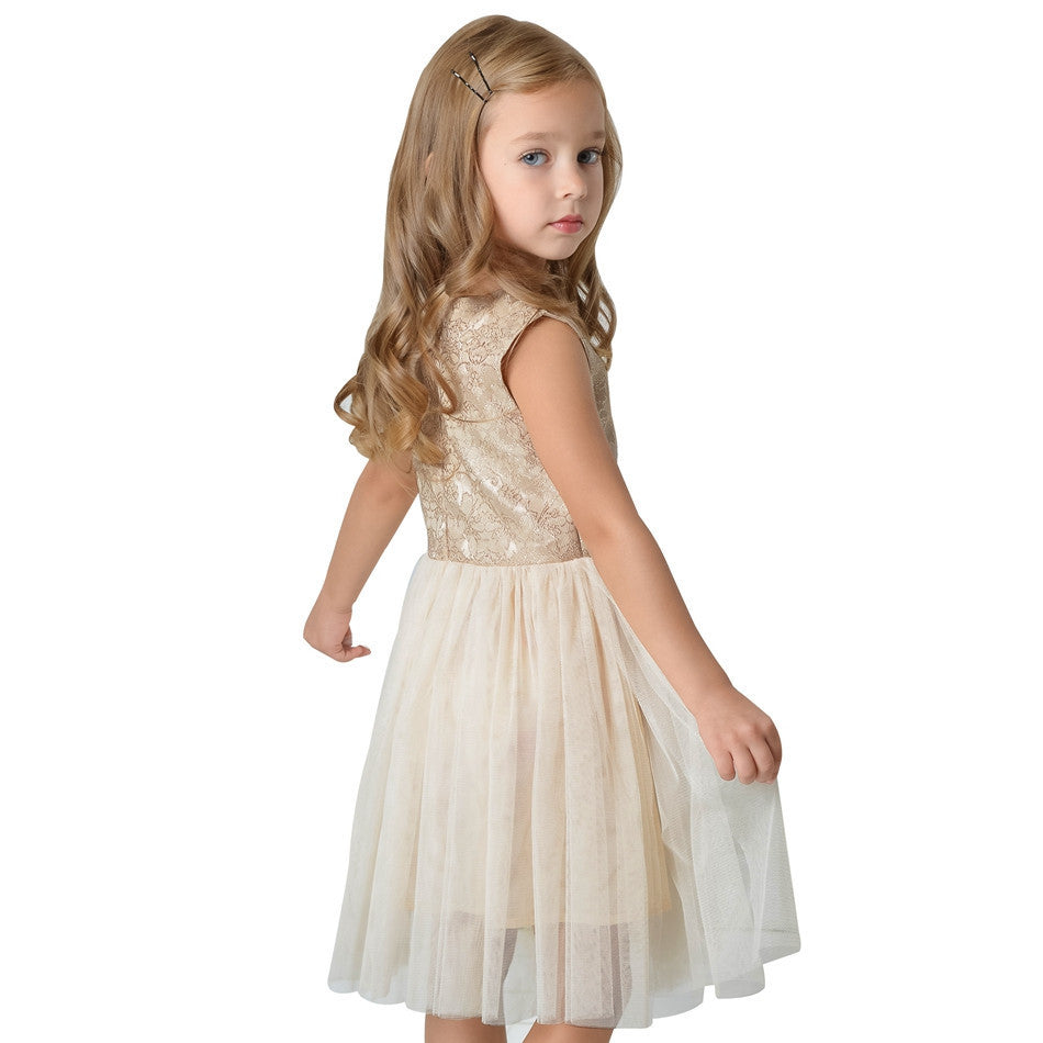 Princess Style Girls Sleeveless Dress with Gold Lace Top and Mesh Bottom 3-10T - FOR MY LITTLE ANGELS