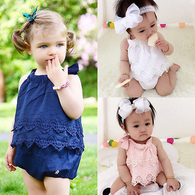 Newborn Baby Sleeveless Romper with Lace Detail 0-18M - FOR MY LITTLE ANGELS