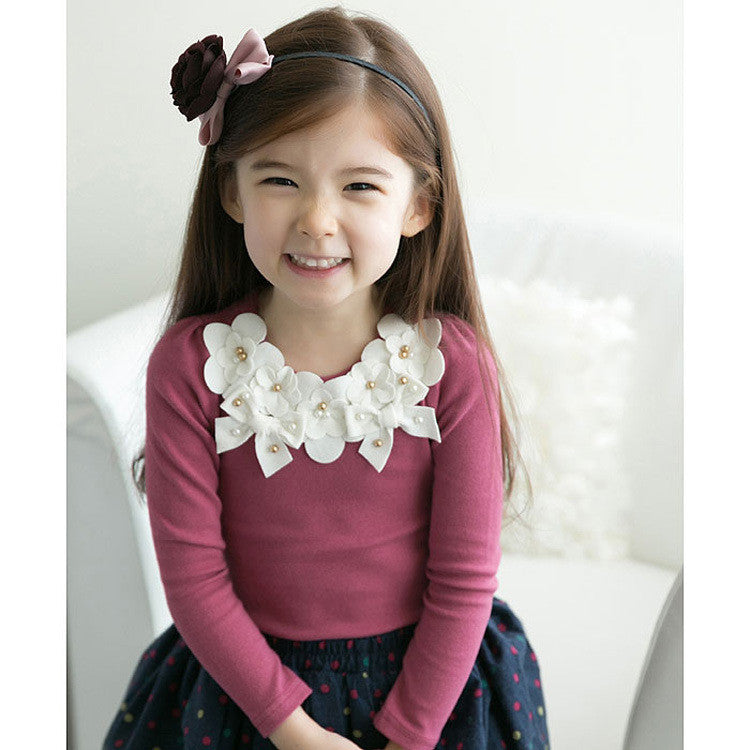 Long Sleeve Cotton Shirt for Girls with Flowers Side Neck for 3-10T - More Colors Available - FOR MY LITTLE ANGELS
