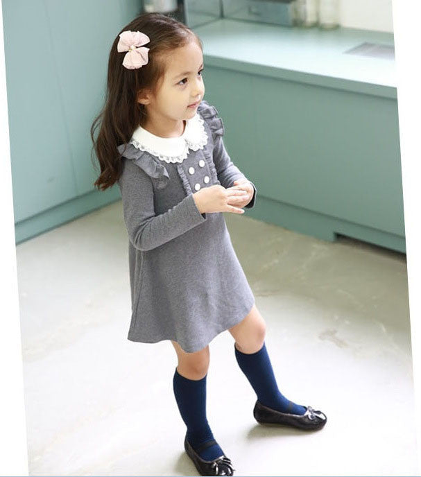 Spring/Autumn Cotton Casual Longsleeve Dress for Girls in Doll Style 3-12T - FOR MY LITTLE ANGELS