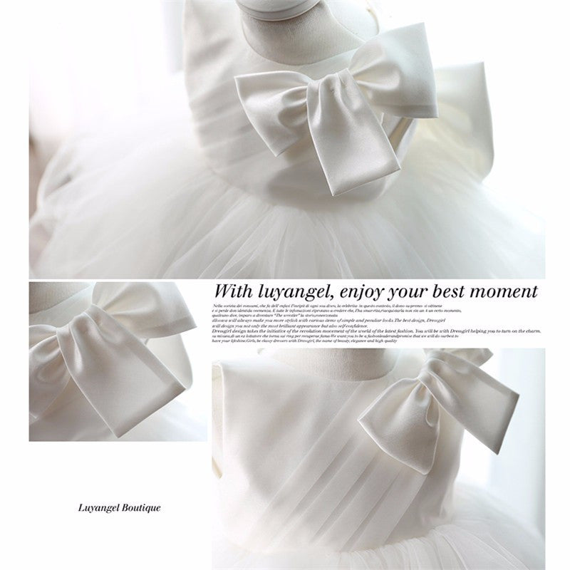 Sleeveless White Tulle Dress for Infant Baby with Big Bow - 4-24M - FOR MY LITTLE ANGELS