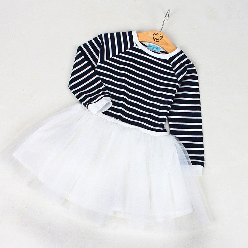 Long Sleeve Black & White Striped with Mesh Design Princess Dress for 3-7T - FOR MY LITTLE ANGELS