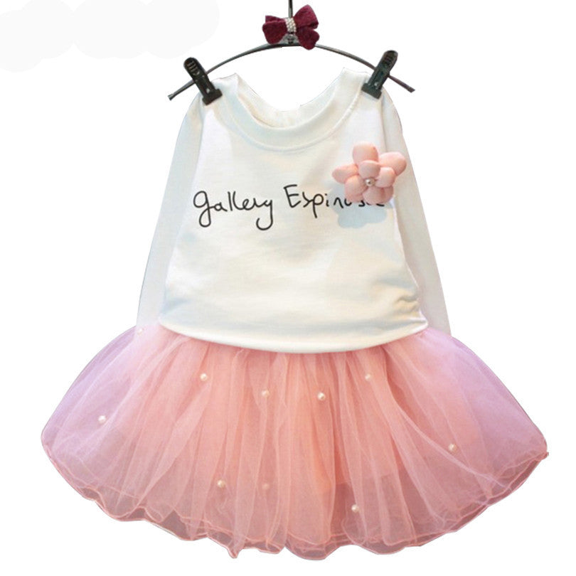White Tee Shirt and Pink Skirt With Rhinestone Clothing Set for Girls 2-6T (2pcs) - FOR MY LITTLE ANGELS
