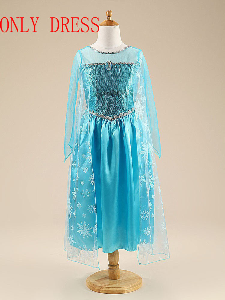 Elsa Princess Costume for Girls (+Crown, Braid, Magic Wand) 3-9T - FOR MY LITTLE ANGELS