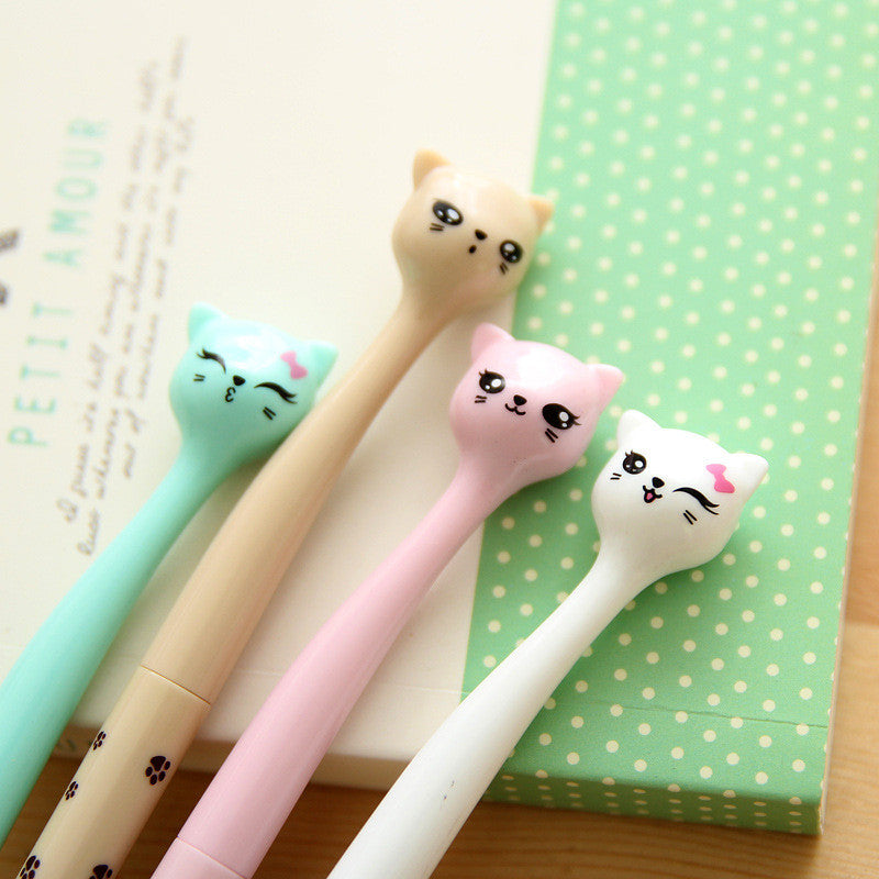 Cat Black Gel Ink Pen for School Supplies with Candy Color (4pcs) - FOR MY LITTLE ANGELS