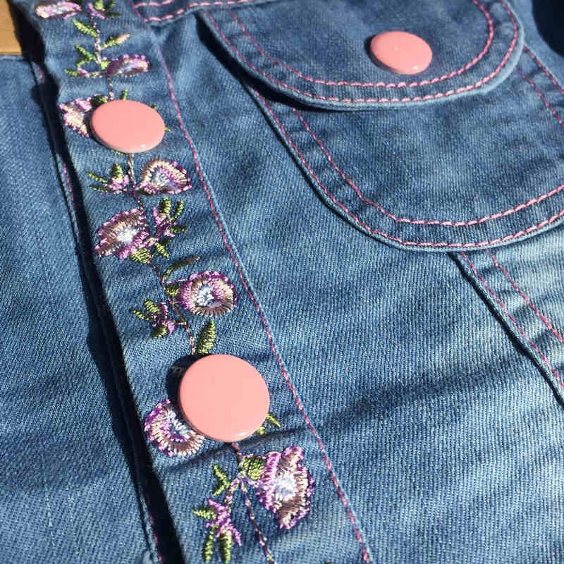 Jean Jacket for Girls with Floral Details and Pink Buttons for 3-8T - FOR MY LITTLE ANGELS