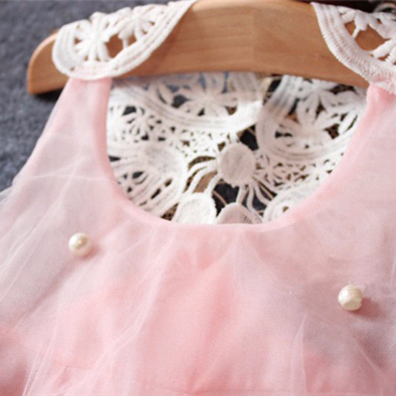 Baby Girls Princess Summer Dress with Lace Detail and Pearls 2T-6 - FOR MY LITTLE ANGELS