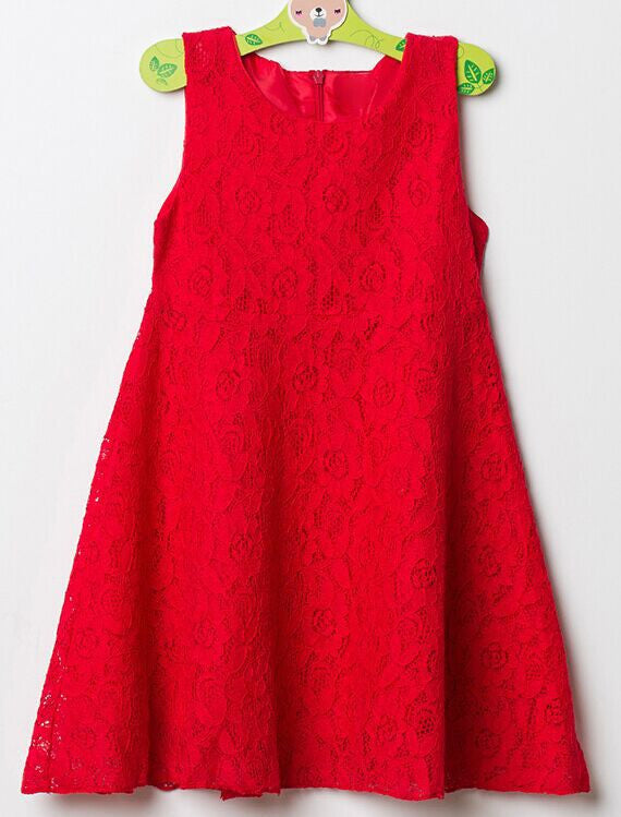 Sleeveless Red Rose Lace Dress for Girls 2-8T - FOR MY LITTLE ANGELS