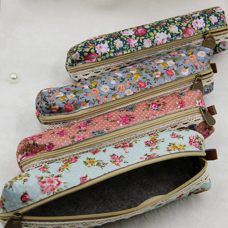 Mini Retro Floral and Lace Pencil Case - More Colors Available - FOR MY LITTLE ANGELS
