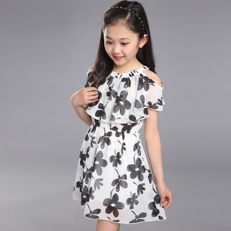 Floral Chiffon Dress with Cut-out Sleeve for Girls 3-12T - FOR MY LITTLE ANGELS