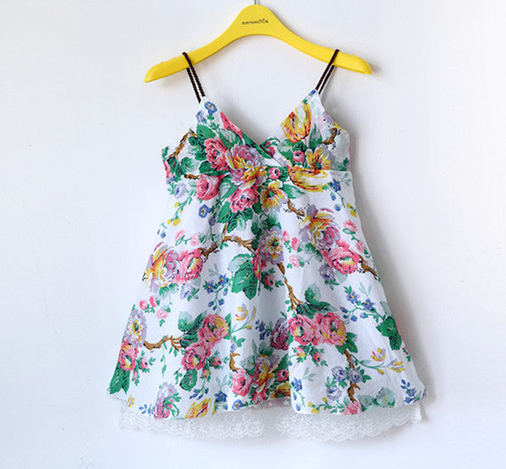 Summer Floral Strap Dress for Girls 2-6T - FOR MY LITTLE ANGELS