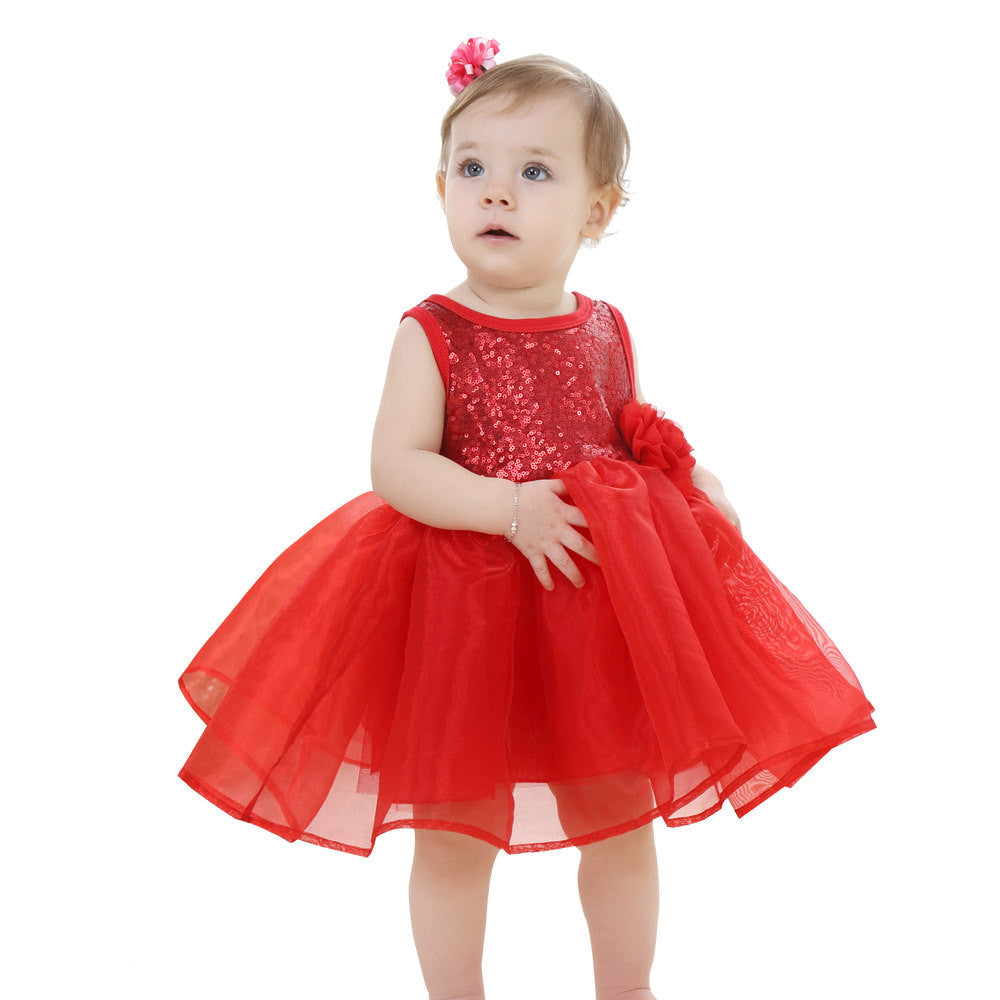 Princess Style Girls Sleeveless Dress with Sequined Top and Mesh Bottom for 2-9T - More Colors Available - FOR MY LITTLE ANGELS