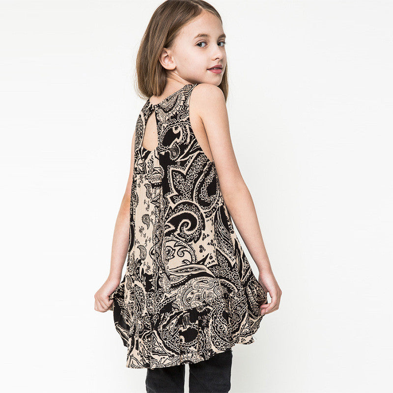 Sleeveless Dress for Girls with Patchwork Pattern Fabric 7-14T - More Colors Available - FOR MY LITTLE ANGELS