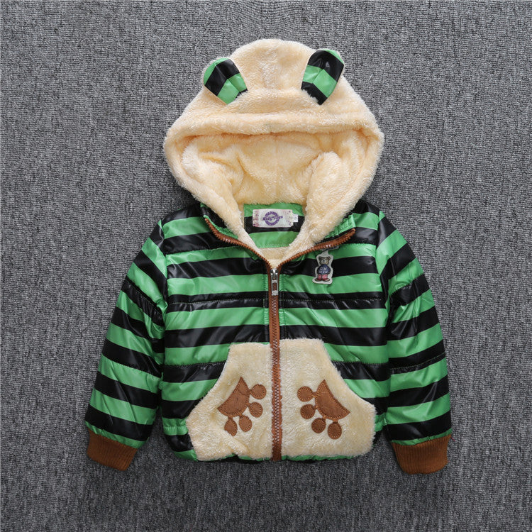 Stripe Wool Winter Coat for Boys with Cotton Bear on the Back 2-5T - FOR MY LITTLE ANGELS