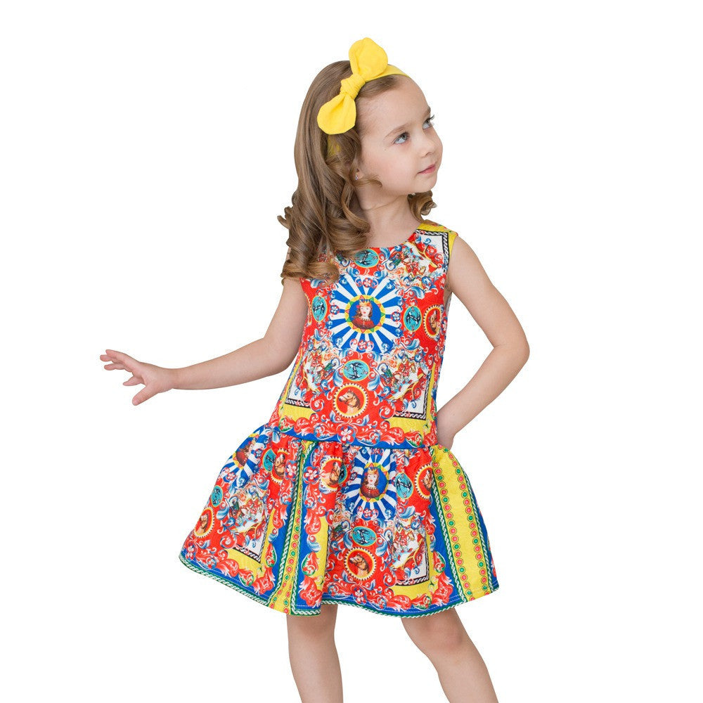 Colorful Printed Pattern Dress for Girls 3-10T - FOR MY LITTLE ANGELS