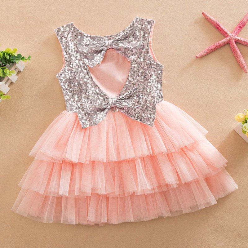 Sleeveless Sequin Dress with Layered Mesh and Back Cut-out for 2-6T - FOR MY LITTLE ANGELS