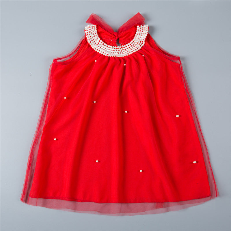 Summer Tulle Dress with Pearl Collar for 2-6T - FOR MY LITTLE ANGELS