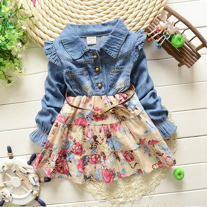 Floral Dress with Denim Long Sleeve Top + Belt in Korean Style for 2-5T - FOR MY LITTLE ANGELS
