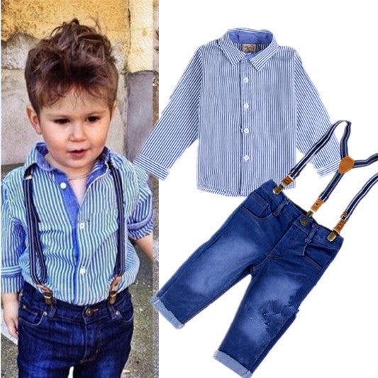 Gentlemen Boys Clothing Suit with Shirt and Strap Jeans Overalls 2-6T (2pcs) - FOR MY LITTLE ANGELS
