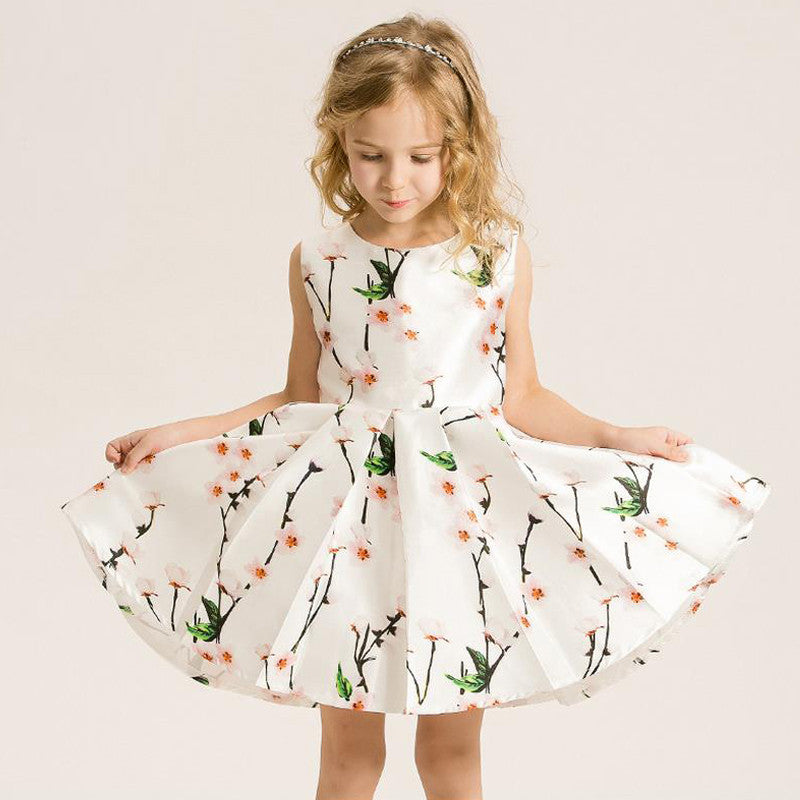 Sleeveless Floral Print Princess Dress for Girls 3-12T - FOR MY LITTLE ANGELS